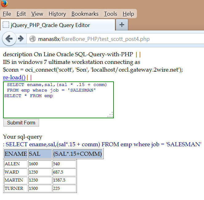 Querying oracle emp/table