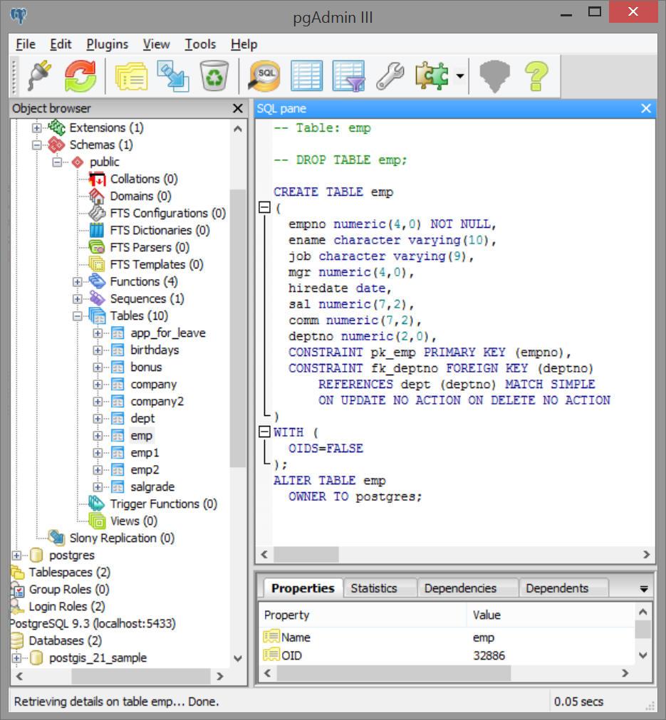 Creating Table PGSQL_DBMS_Employee
